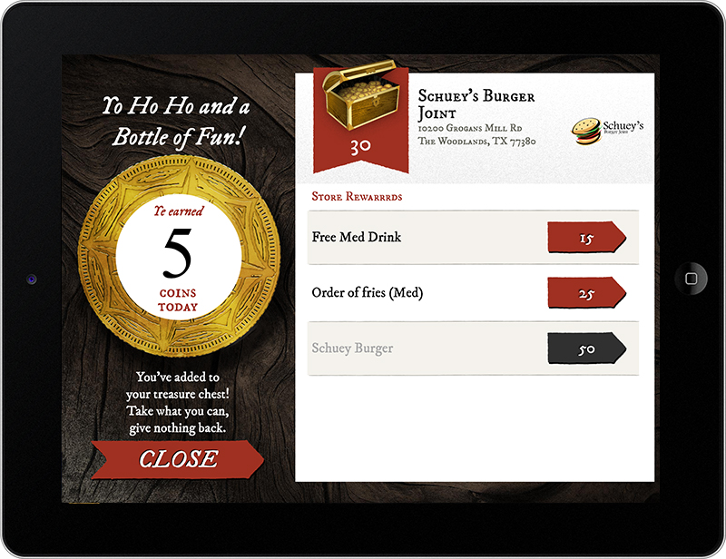 A screen capture of a custom loyalty rewards program from Huzzah Media.